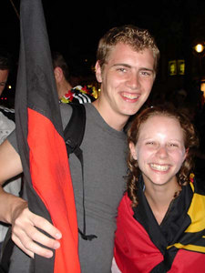 Rob and Emily celebrating after the Germany-Poland World Cup game - Dortmund, Germany ... June 14, 2006 ... Photo by German friends