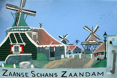 A painting of the town on the side of the ice cream truck - Zaanse Schans, Netherlands ... June 16, 2006 ... Photo by Rob Page III