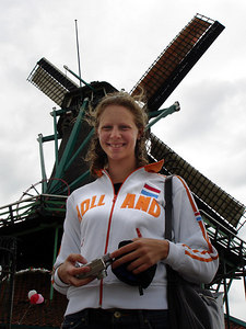 Emily in front of one of the windmills - Zaanse Schans, Netherlands ... June 16, 2006 ... Photo by Rob Page III