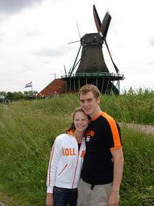 Rob and Emily enjoying Holland with our Holland shirts - Zaanse Schans, Netherlands ... June 16, 2006 ... Photo by Unknown Tourist
