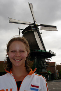 Emily with a windmill - Zaanse Schans, Netherlands ... June 16, 2006 ... Photo by Rob Page III