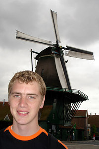Rob with the Dutch windmills - Zaanse Schans, Netherlands ... June 16, 2006 ... Photo by Emily CongerI