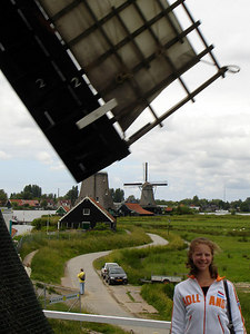Emily, trying not to get decapitated by the windmill - Zaanse Schans, Netherlands ... June 16, 2006 ... Photo by Rob Page III