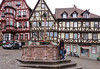 Playing around at the town fountain in Miltenberg, Germany.