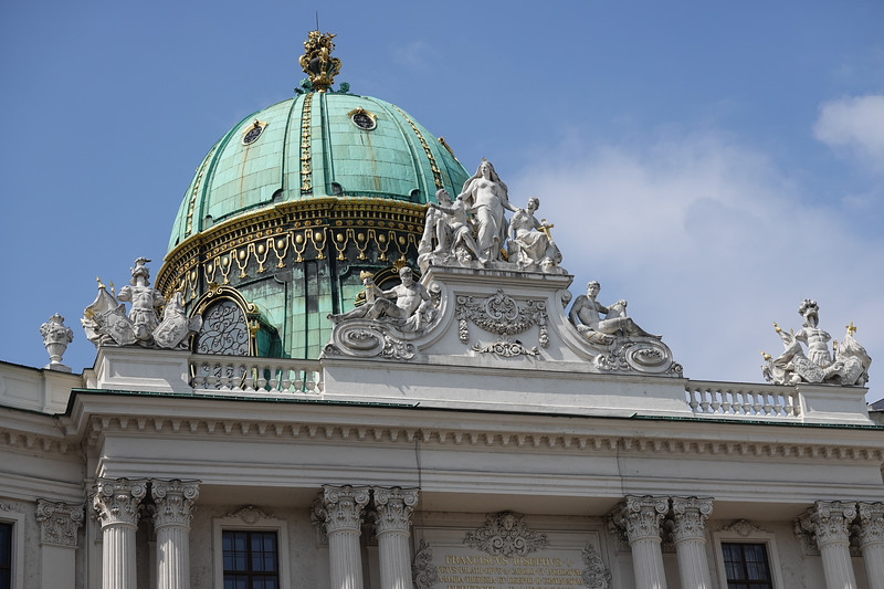 Detail at the top of the Hofburg Palace, Vienna, Austria.