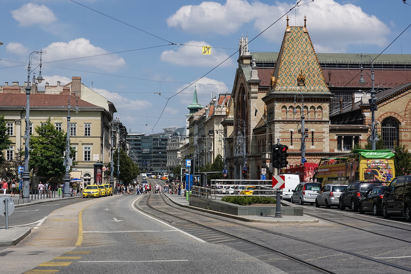 Walking in to the local Grand Market (on the right) in Budapest, Hungary.