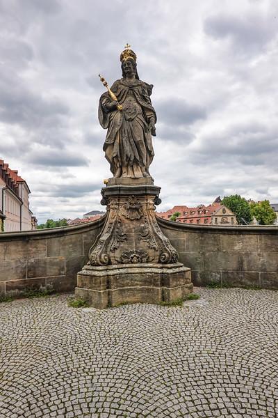 Queen Kunigunda Statue on the Alte Rathaus bridge, Bamberg, Germany.