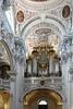 There are 17,000 organ pipes inside 14th-century St. Stephens Cathedral in Passau, Germany. St. Stephen's Cathedral is a baroque church from 1688 in Passau, Germany, dedicated to Saint Stephen. It is the seat of the Catholic Bishop of Passau and the main church of his diocese. Since 730, there have been many churches built on the site of the current cathedral.