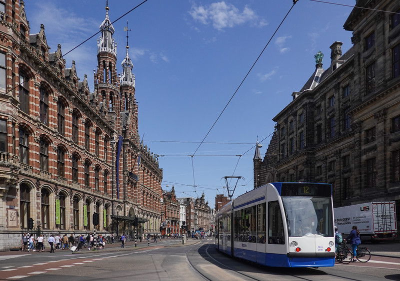 Light electric rail system in Amsterdam, Netherlands.