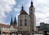 Church Neupfarrkirche with St. Peters Cathedral in the background. Regensburg, Germany.