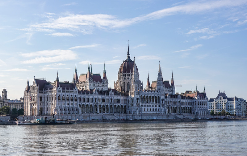 Hungarian Parliament is a landmark Gothic Revival–style edifice building with lavishly decorated rooms.  Budapest, Hungary.