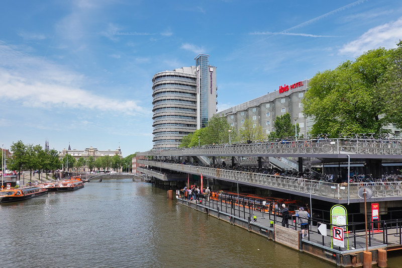Multi-level bicycle parking lot in the land of the bicycle, Amsterdam, Netherlands.