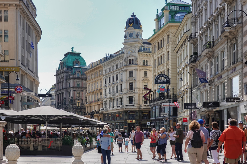Streets and shopping areas in Vienna, Austria.