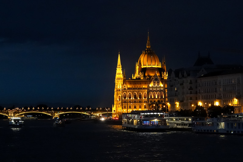 Hungarian Parliament building side view at night from the Viking Lif.  Budapest, Hungary.