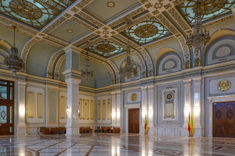 Huge open spaces in the Romanian Parliament building, Bucharest, Romania.