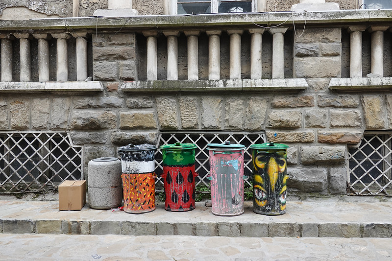 Garbage cans in Russe, Bulgaria.