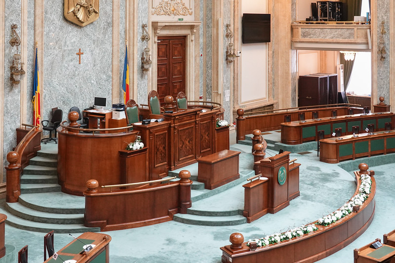 Area for the Head of Parliament in the Romanian Parliament building. Bucharest, Romania.