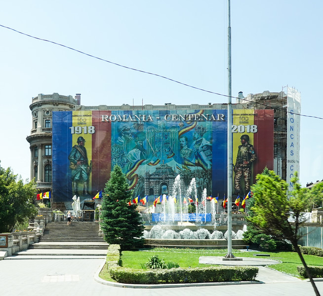 Romanian Centennial Memorial, fighting then and now. Bucharest, Romania.