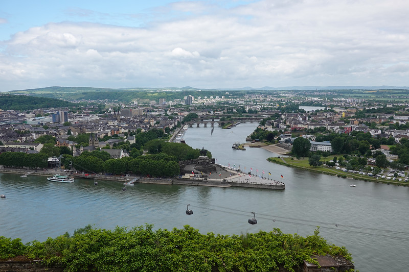 Confluence of the Rhine and Moselle Rivers in Koblenz, Germany.