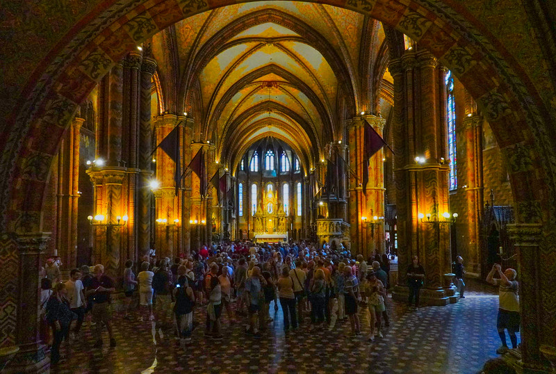 Inside St Matthew's Cathedral. Budapest, Hungary.
