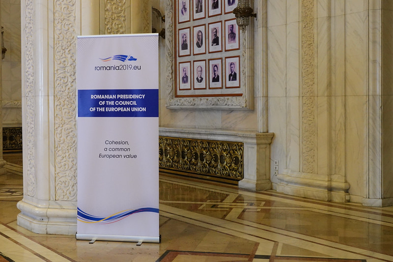 Outside the meeting room for the Council of the European Union in Bucharest, Romania.