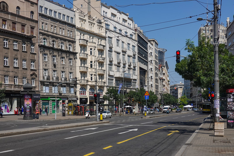 A main street in Belgrade, Serbia.