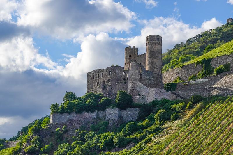 Ehrenfels Castle. Bavaria, middle Rhine, Germany.
