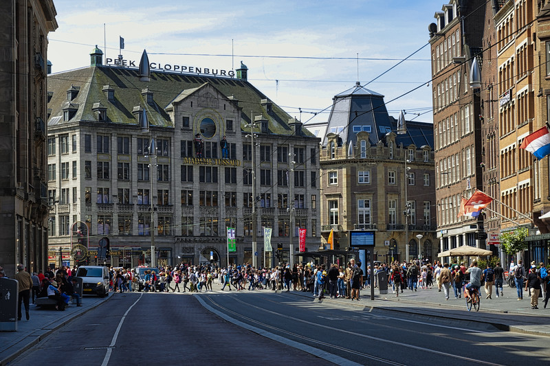 Crowds on the streets of Amsterdam, Netherlands