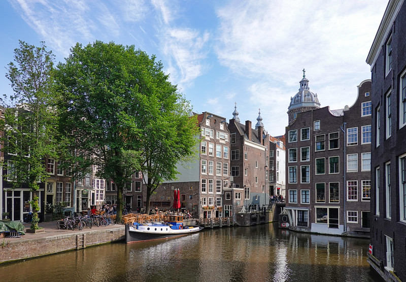 Touring in the canals of Amsterdam, Netherlands.