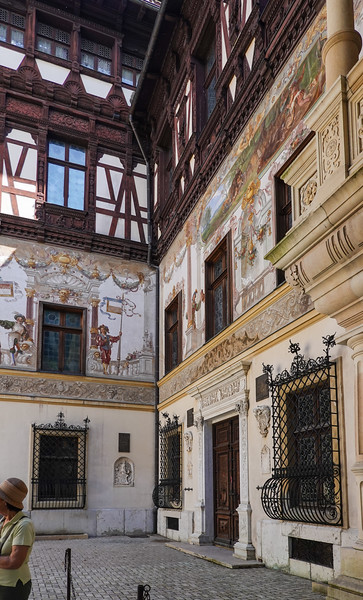 Art and decorations in  the courtyard of  Peles Castle at the National Preserve in Romania.