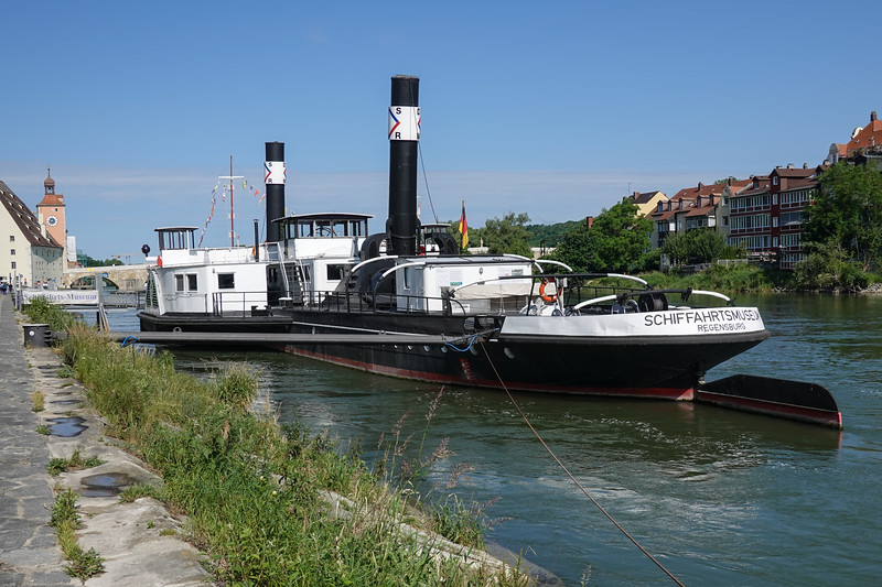 Regensburg is at the confluence of the Danube and Rhine Rivers. This late 1800's antique steam paddle wheeler, now a museum, is moored here.