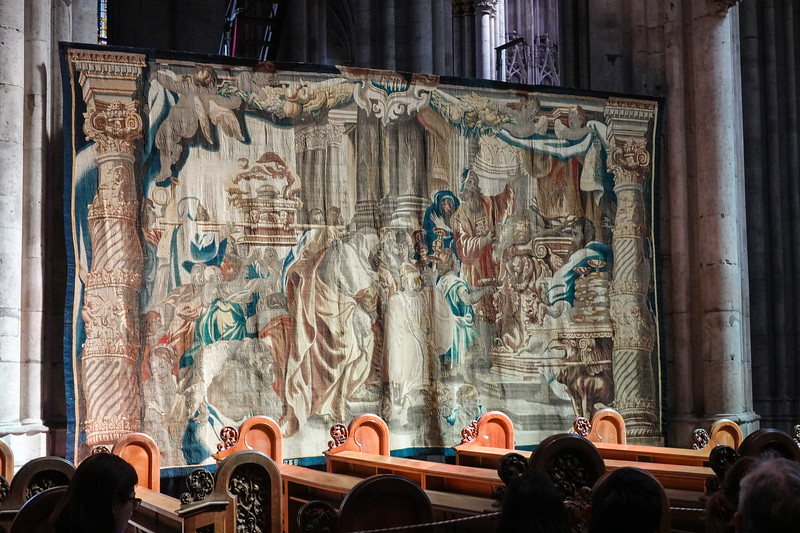 Historic tapestry on display inside the Cologne Cathedral, Cologne, Germany.