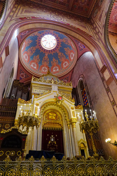 Inside the Dohany Street Synagogue in Jewish Budapest, Hungary.