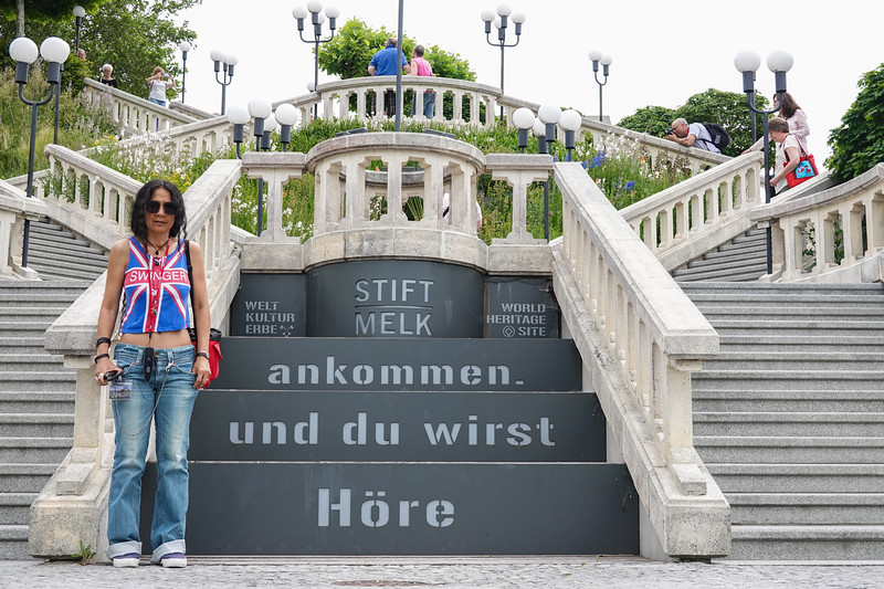 St. Wifey Pla at the Melk Abbey stairs in Austria.
