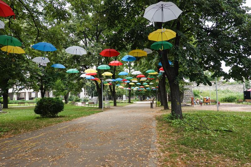 A park in Vidin, Bulgaria decorated in colorful umbrellas.