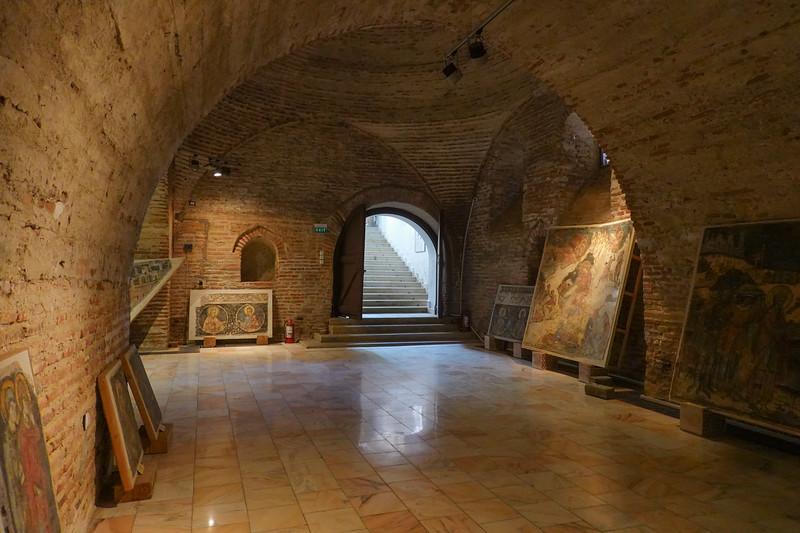 Underground art storage facility at Mogosoaia Palace, Romania.