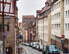 Looking downhill to the center of Old Town, Nuremberg, Germany. The center of town is at the bottom of a valley and easy to find.