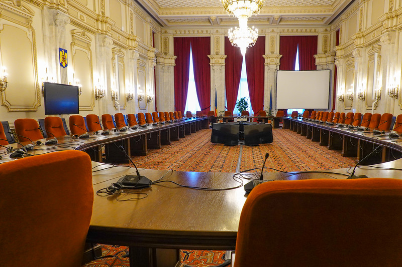 Meeting room for the Council of the European Union in Bucharest, Romania.
