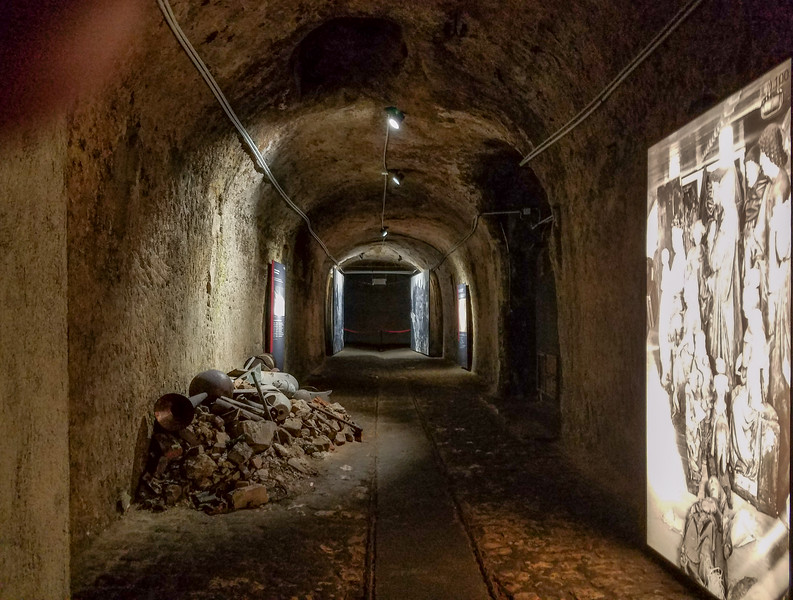 One of the rock cut cellars and hallways where art was stored in the war. Nuremberg, Germany.  Some of the cellars have not been fully excavated enough to be open to the public to this day.