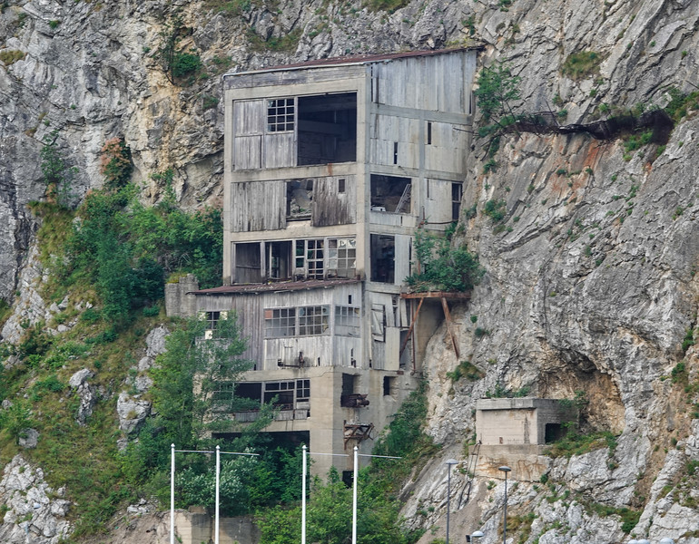 Abandoned squatter shelters or leftover war spotter housing along the Danube in the Iron Gate area between Serbia and Croatia.