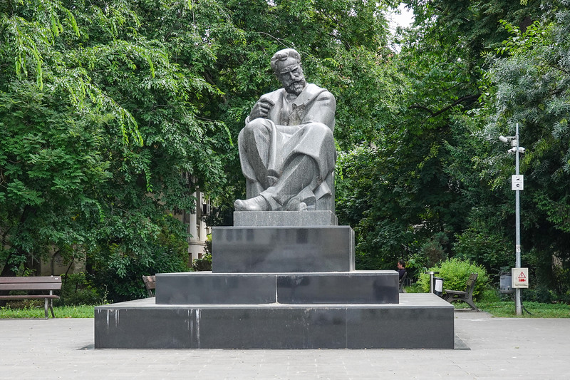 The granite (from Dalmatia) monument of Prime minister Ionel (Ion) Bratianu (1864-1927) was inaugurated in 1938 .  Bucharest, Romania.