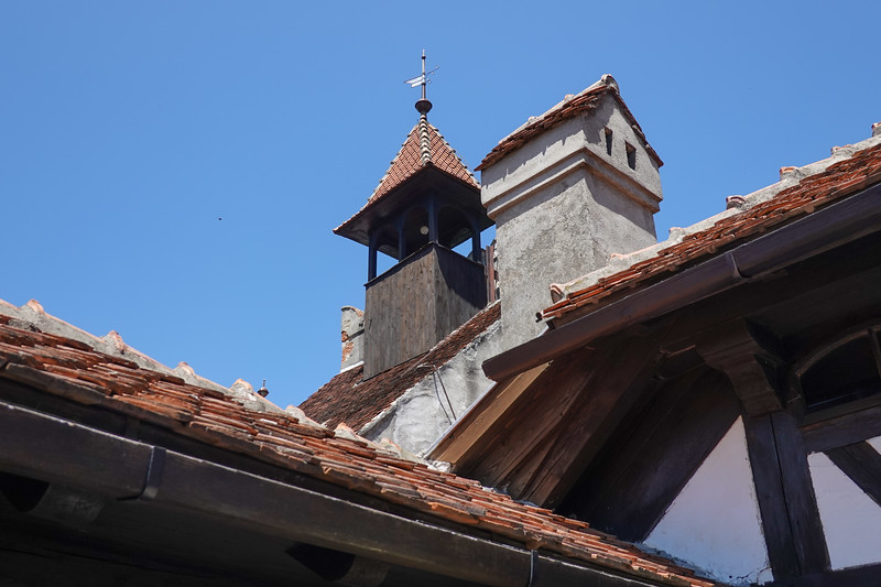 Architecture at the very top of Bran Castle in Transylvania, Romania.