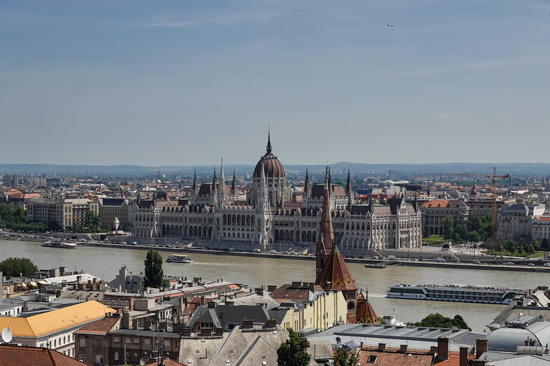 Parliament Building and Pest from Old Town in Buda. Hungary.