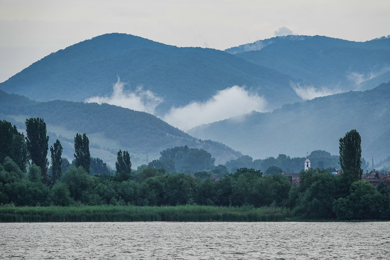 Morning haze over the Carpathian Mountains in the Iron Gate Region. This is the Serbian side.