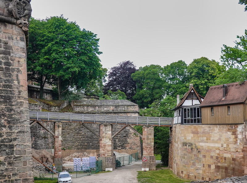 The bridge over the moat area just outside the Old City walls, Nuremberg, Germany.