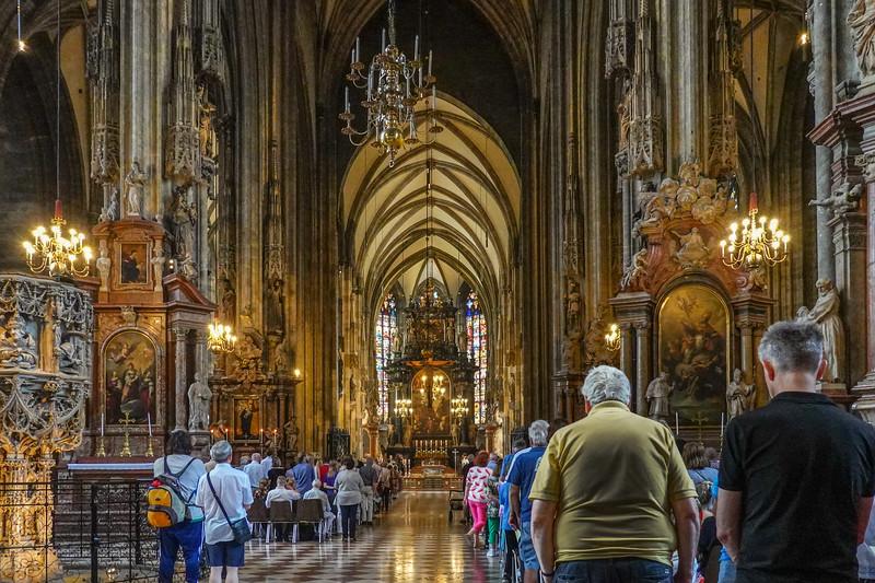 Inside St. Stephen's Cathedral in Vienna, Austria.