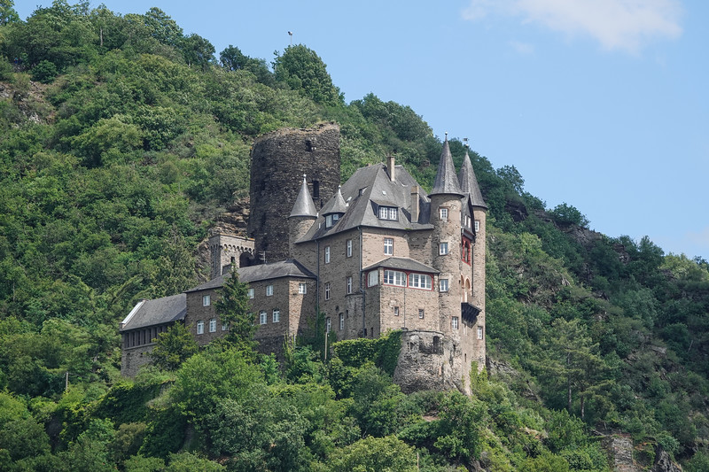 Katz Castle (German: Burg Katz) is a castle above the German town of St. Goarshausen in Rhineland-Palatinate. The castle stands on a ledge looking downstream from the riverside at St. Goar. It was first built around 1371 by Count William II of Katzenelnbogen. The castle was bombarded in 1806 by Napoleon and rebuilt in the late 19th century, in 1896–98. It is now privately owned, and not open for visitors.