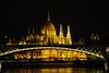 Hungarian Parliament lit at night from the Viking Lif. Budapest, Hungary.