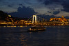 Budapest at night from the top of the Viking Aegir in harbor.