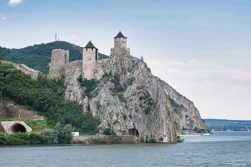 The Golubac Fortress was a medieval fortified town on the south side of the Danube River, 4 km downstream from the modern-day town of Golubac, Serbia.